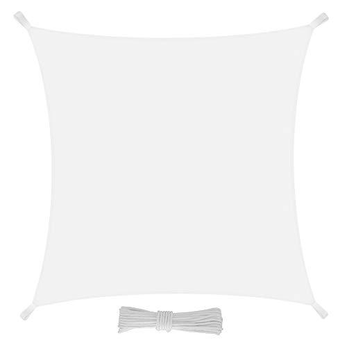 Bricok Sonnensegel Quadratisch Gartentisch-mit UV Schutz 3 x 3 Bianco