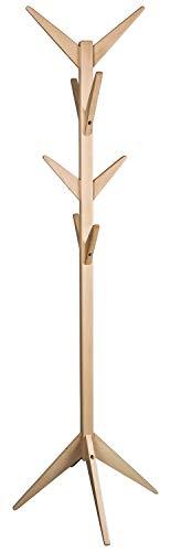 Schwarzwald Massivholz Garderobenständer James aus Massivholz in DREI Farben Garderobe Hutständer Jackenhalter Holzfarbe: Buche