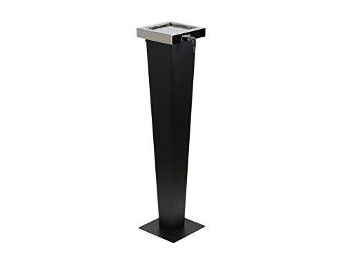 adorini Designer Standaschenbecher - 3 in 1 - Draußen und Drinnen Nutzbar 94 cm Hoch Schwarz und Silber Aschenbecher aus Hochwertigem Edelstahl mit Diebstahlschutz