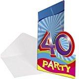 8x Einladung Geburtstag Zahl 40 Geburtstagsparty