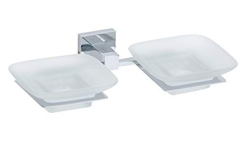 EMBROS Seifenschale aus Glas - Badezimmer Glas Seifenhalter - Messing Glas Seifenschale Halter Wandmontage Double QUBIX Chrome -
