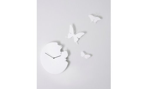 DIAMANTINI & DOMENICONI Schmetterling Wanduhr Weiß