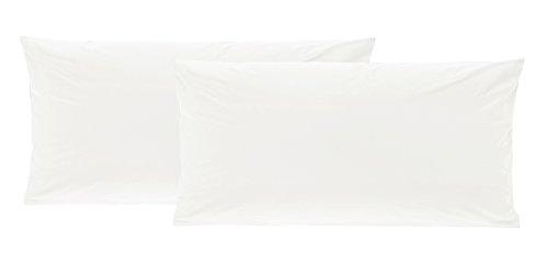2er Pack Baumwolle Renforcé Kissenbezug, Kissenbezüge, Kissenhüllen 40x80 cm in 8 modernen Farben Weiss -