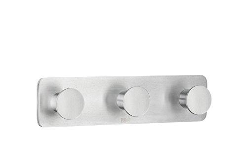 Design-dreifach-haken (Beslagsboden Dreifach-Haken Design Selbstklebend Edelstahl Poliert, Silber, 192x 48mm)