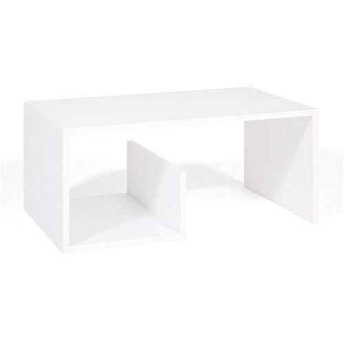 Mobili Fiver, Table Basse de Salon Snake, Mélaminé, frêne Blanc, 80 x 50 x 35 cm
