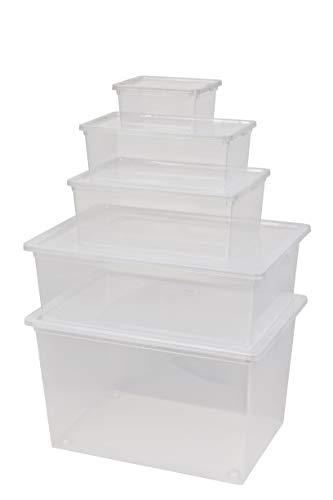 Kreher Aufbewahrungsboxen-Set aus 5 Kunststoff Boxen mit Deckel in Transparent. Nutzvolumen 2,5 bis 50 Liter. Stapelbar, einsehbar, preiswert.