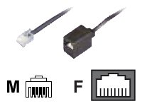 Bleil Reduzier-Adapter, RJ11(6p4c)-Stecker-RJ45(8p4c)-Buchse, Kabel: 4-adrig, flach und schwarz, 0,15 m