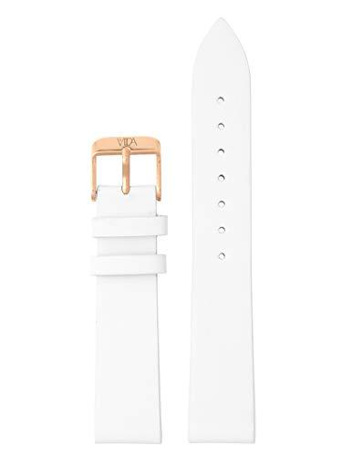 laVIIDA Uhrband LB-SVI2002R Ersatzband Uhrenarmband Leder 18 mm Weiß-Rosé