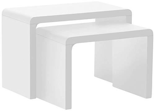 AC Design Furniture 36158 - Juego de 2 mesitas nido (59 x 41 x 30 cm), color blanco satinado