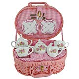 Delton Products Lavender and Roses Flower Porcelain Tea Set in Fabric Lined Basket New -