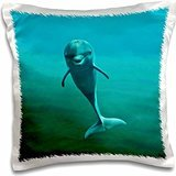 Kike Calvo Dolphins - Dolphin underwater looking directly at the photographer at Oceanographic Aquarium in Valencia, Spain - 16x16 inch Pillow Case