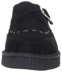 T.U.K. TUK Shoes Pointed Monk Buckle Brothel Creeper Black Suede Creepers Shoe (Men's UK 10 / EU 44 / US 11)