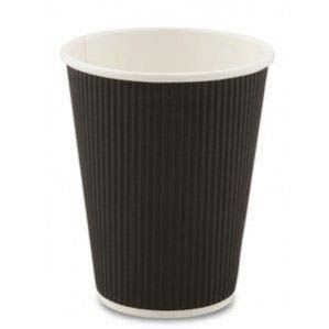 Go-Pak 340,2 Gram Noir Ripple jetables pour Boissons Chaudes pour Plats Tasses à café (100 Tasses)