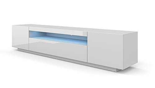 LOWBOARD 200 cm TV Schrank Solo, Unterschrank mit LED, Fernsehschrank, TV Board, Sideboard RTV, TV Schrank, HiFi-Tisch, Weiß Schwarz Grau Graphit Hochglanz (weißer Pfeffer ohne Beleuchtung) -
