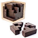 Rompecabezas 3D De Madera de Sharp Brain Zone. Desarrolla Habilidades de Genio con sus Piezas en Forma de T que se Ajustan como en Tetris. Juguete Educativo para Niños y Adultos.