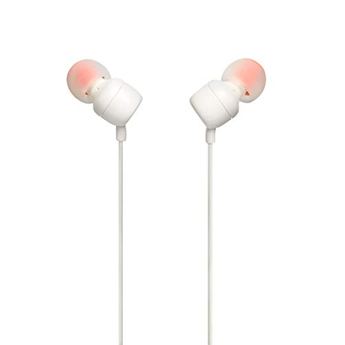 JBL T110 in-Ear Headphones with Mic (White) Image 4
