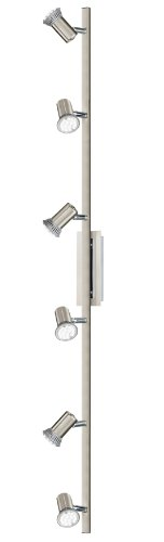 Wand-Deckenleuchte LED Modell ROTTELO, 6-flammig, Stahl, nickel-matt,chrom, HV 6xGU10 LED 3W, 1080lm, inklusiv Leuchtmittel, L=1160 mm, B=70 mm 90927 E