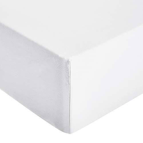 AmazonBasics - Sábana ajustable de microfibra premium 150 x 200 cm, blanco brillante
