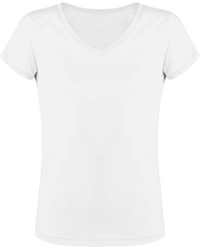 Emma & Giovanni - Basic Kurzarm und V-Ausschnitt T-Shirt - Damen (Weiß, DE 36/38 (Herstellergröße S)) (Damen-ausschnitt Pullover)