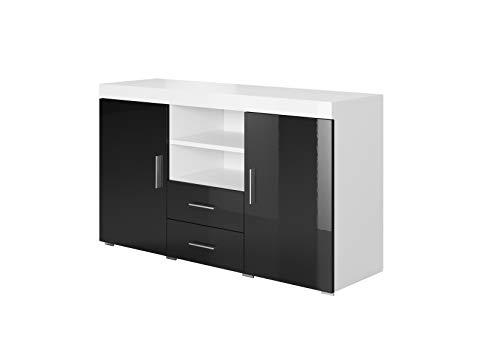 Aparador Moderno Modelo Roque Blanco Negro melamina