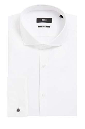 BOSS Herren Hemd Jaiden Weiß 42 - Herren-cutaway-kragen-shirt