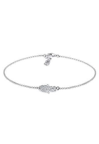 Elli Damen-Fußkettchen Hamsa Hand 925 Sterling Silber Swarovski Kristalle 22 cm 0706232816_22