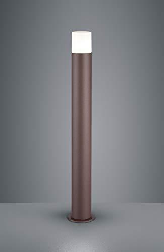 Lampione da giardino moderno marrone rotondo ip44 per esterno e27 led