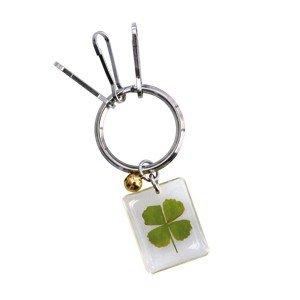 Pote-clés trèfle à 4 feuilles carré porte bonheur véritable trèfle végétal