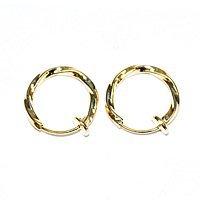 (Accessoire parties / ferrures métalliques) Boucles d'oreilles Twist / Hoop 13 mm couleur or 5 paires