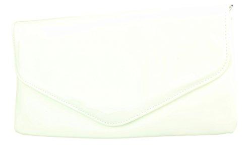 2Store24 Envelope Clutch Lack Damen Handtasche Abendtasche in cremeweiss