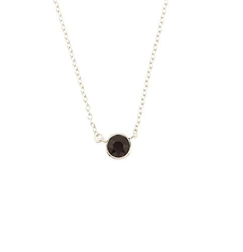 Burgund Metall (Behave® Damen Halskette mit Kristallsteinanhänger aus Metall - Dunkel Rot Burgund - 40cm Größe)
