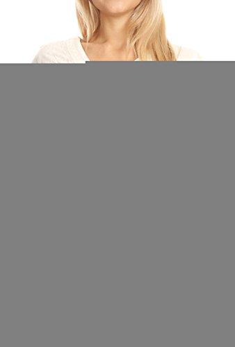 Sakkas 1665 - Estella Damen Kurzarm V-Ausschnitt Button Down Bluse mit Stickerei - Elfenbein - L