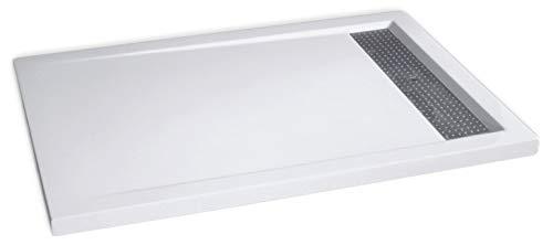 Mineralguss Duschtasse rechteckig 12090BW Edelstahl - Weiß glänzend - 120x90x4,5cm