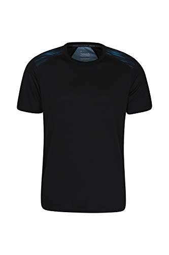 Mountain Warehouse Aspect Herren-T-Shirt mit bedrucktem Einsatz - leicht, Feuchtigkeitstransport, schnell trocknend, pflegeleicht - zum Wandern, Reisen, Zelten Blau Small