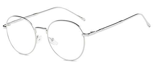 Metall Frame Retro Glasrahmen-Ebenenspiegel Dekobrille Nerdbrille Klassisches Rund Rahmen Glasses Klare Linse Brille