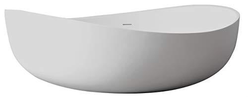 Freistehende Badewanne aus Mineralguss WAVE STONE weiß - 180 x 110 cm - Wählbar in Matt oder Hochglanz, Ausführung:Matt (Stone Freistehende Badewanne)