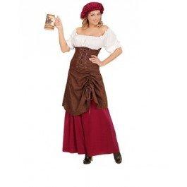 Damen Kostüm Mittelalterliche Wirtin 2-tlg. Kleid Mütze (Small)