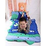 Zantec HuntGold Big Cartoon Kind Jungen und Mädchen Schlafsack Blatt Slumber Tasche w / Kissen 140 cm x 60 cm (blau dinosaurier)