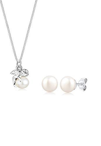 Elli Damen Schmuck Schmuckset Halskette + Ohrringe Engel Süßwasserzuchtperle Schutzengel Glücksbringer Silber 925 Länge 45 cm