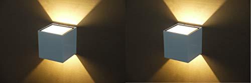 Weiße LED-Außenwandleuchte Mailand mit indirekter Lichtwirkung 7,5W 320lm 3000K Wandbeleuchtung Wandlampe Treppenhausleuchte (2 Stück im Set)