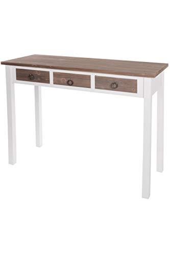 elbmöbel.de - Tavolino da ingresso in legno, motivo vintage, colore: bianco  e marrone
