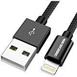UNBREAKcable iPhone Ladekabel 1M [MFi Zertifiziert] Lightning Kabel auf USB für iPhone X/XS/XS MAX/XR, 8/8 Plus, 7/7 Plus, 6S/6S Plus/6 Plus, iPhone 5S/5C/5, iPad - Nylon Schwarz -
