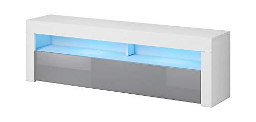 VIVALDI MEBLE LED TV Board weiß matt Hochglanz Fernsehtisch Sideboard Kommode Lowboard Schrank
