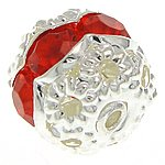 """Angel Malone 10 x 10mm Brass """"A"""" Grade RED Crystal Rhinestone Nice Bright Silver Round Spacers Beads, Loads more colours available..."""