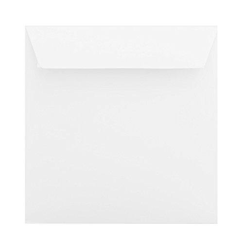 50 Quadratische Briefumschläge 16 x 16 cm Querlasche mit Abziehstreifen (100g) Farbe:Schnee Weiß 160 x 160 mm -