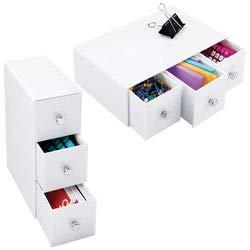 mDesign 2er-Set Schubladenbox – Schreibtisch Organizer mit 3 Schubladen aus Kunststoff– praktisches Ordnungssystem Büro für einen aufgeräumten Arbeitsplatz – weiß