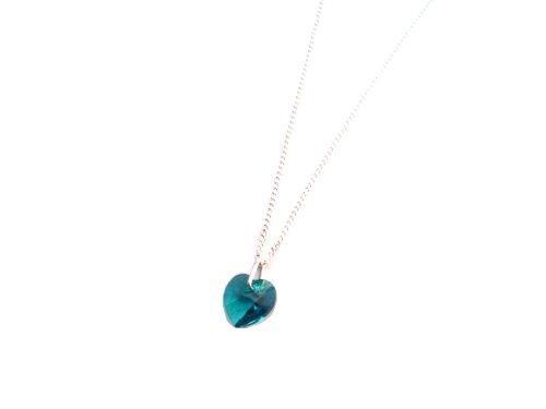 Dicembre Birthstone Bluezircon Swarovski Elements Collana con ciondolo a forma di cuore con confezione regalo