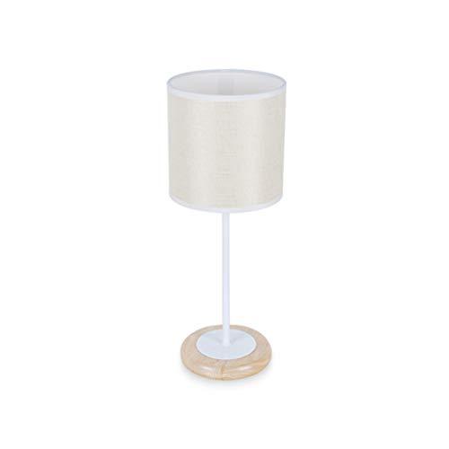 H.ZHOU Modern Nachttisch Lampen Wohnzimmer, Nordic Massivholzgewebe Warmes Licht Und Weißes Licht 220 V Knopfschalter Warme Schlafzimmer Nachttischlampe Schreibtisch Kleine Tischlampe -