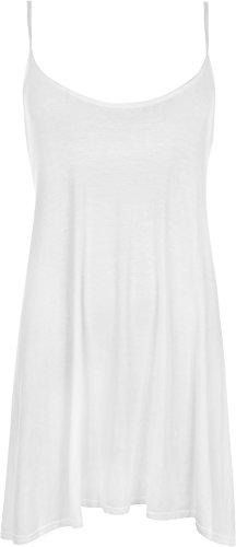 WearAll - Damen Übergröße Plain Strappy Ärmelloses Oberteil Schwingen Weste - 3 Farben - Größe 40-58 Weiß