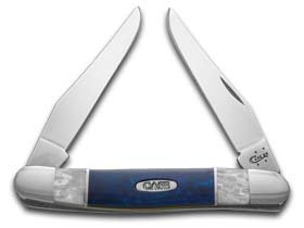CaseXX XX White Pearl and Blue Silk Corelon Muskrat Stainless Pocket Knife Knives